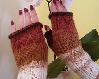 Handmade Fingerless Gloves Womens Mittens Mitts warm Handwarmers Hand knitted white and brown Wool