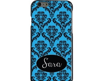 Hard Snap-On Case for Apple 5 5S SE 6 6S 7 Plus - CUSTOM Monogram - Any Colors - Black Blue Damask Oval
