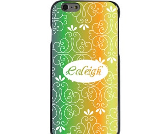 Hard Snap-On Case for Apple 5 5S SE 6 6S 7 Plus - CUSTOM Monogram - Any Colors - Purple Green Orange Yellow Floral