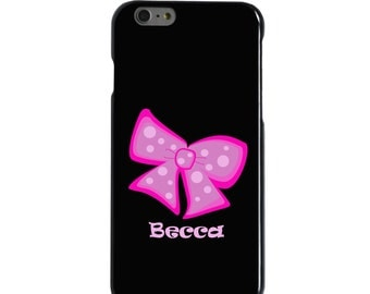 Hard Snap-On Case for Apple 5 5S SE 6 6S 7 Plus - CUSTOM Monogram - Any Colors - Hot Pink Bow Ribbon Name