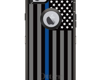 Custom OtterBox Defender Case for Apple iPhone 6 6S 7 8 PLUS X 10 - Personalized - Thin Blue Line Law Enforcement Christmas Gift for Dad
