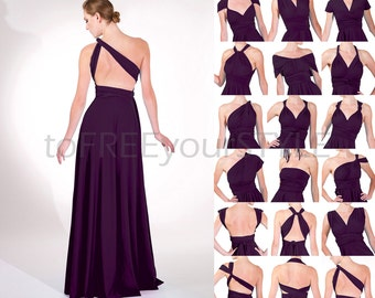 Long infinity dress in EGGPLANT purple shiny, FULL Free-Style Dress, long convertible dress, infinity bridesmaid dress, maxi dress, evening