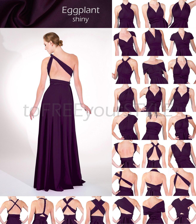 Wedding Infinity Dress Styles long infinity dress in eggplant purple shiny full free style convertible