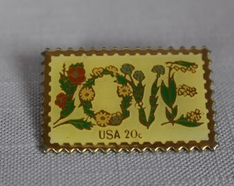 Vintage love postage stamp pin
