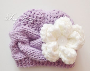 Lilac Newborn Hat, Baby Girl Knit Hat, Cable Baby Girl Hat, Lavender Newborn Hat, Cable Girl Beanie, Winter Cable Hats, Knit Hats Baby Girl