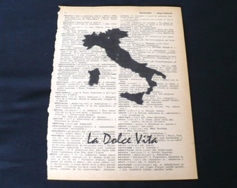 La Dolce Vita Dictionary Art Print Home Decor Gallery Wall Book Page Art Italy Italian The Good Life Map