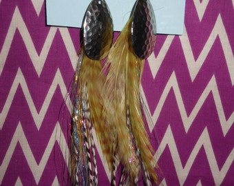 Gold with Rainbow Streamers Fly Tye Feather Earrings