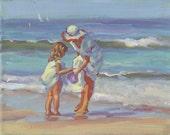 MAMA AND ME   paper giclees, family on the beach, l, beach scene,   beach wall decor,   Lucelle Raad Art