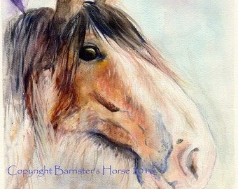 Clydesdale Horse, equestrian fine art, Giclee Watercolour Painting Print A4. Archival quality inks