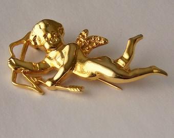 Cupid Brooch. Valentine Brooch. Cupid Jewelry. Figural.
