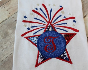 Custom Personalized 4th of July Onsie - Shooting Star with Initial