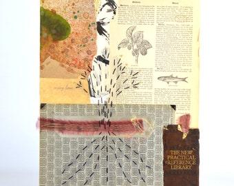 Decor Art Collage, Original Collage Art, hastypearl, Wall Art Decor, Handmade Wall Art, Assemblage Collage, Art Weave, Book Art