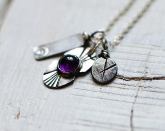 Silver necklace, Bohemian, charm, Amethyst, grigri, 925 Silver