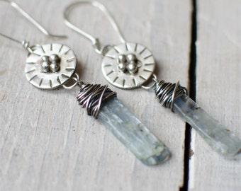 earring silver solid, ethnic, Bohemian, long loop blue kyanite, Silver 925, fine stone,.