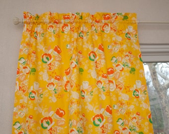 Meadow Floral  Antique Yellow, Orange, Emerald Green Lined Window Curtain Drape Panel (Sold by 1)