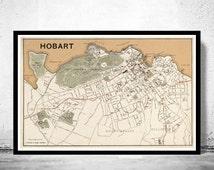 Old map of Hobart , Australia 1893