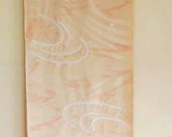 "ART Silk KIMONO FABRIC Vintage Japanese Silk Kimono Fabric from Unused Bolt Abstract Shibori Pale Peach Gold Drapey Silk Fabric 14""W 36""L"