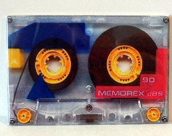 """1980's Cassette Tape 2"""" x 3"""" Fridge Magnet Art Vintage"""