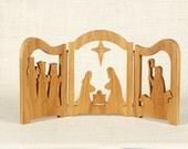 Nativity Scene Triptych (Cherry) Manger Scene, Creche, Baby Jesus, Nativity Silhouette, Three Wise Men