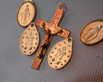 French Vintage cross large lot 5 crucifix medals copper gold tone metal virgin mary medals
