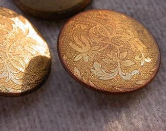 Paris couture 4pcs french antique button gold gilt engraved flower ornate solid bronze button art nouveau bronze button Signed Paris