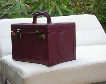 Cartier Burgundy Vintage Leather bag Flacons Beauty Trunk Train Case monogram Box gold clasp red bordeaux leather mirror Free Shipping