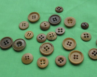 Lot Of Vintage Tan Colored Buttons