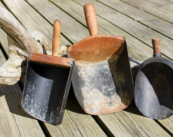 Three Antigue Wood and Tin Grain or Feed Scoops/Rustic Farmhouse