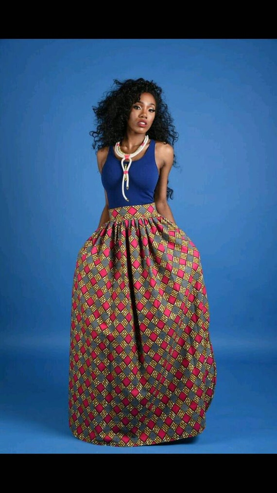 NEW Lily Slit African Print Maxi skirt