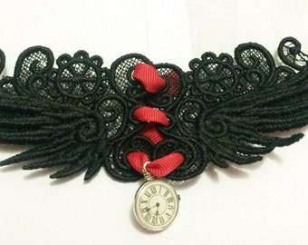 Steampunk Choker. Custom made Free Standing Lace. Custom colours available upon request.