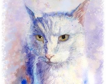 Custom Cat Portrait or Full Body Custom Pet Portrait Cat Painting Watercolor Cat Cat Art Cat Lover Gift Animal Portrait Watercolor Original
