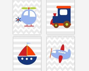 Transportation Baby Boy Nursery Wall Art Train Plane Boat Helicopter Little Boys Room Decor Baby Nursery