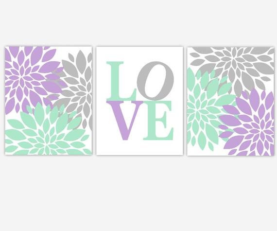 Baby Girl Nursery Wall Art Purple Mint Lavender Gray Grey