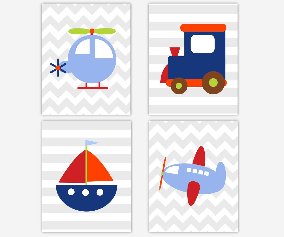 Nursery Wall Decor Transportation : Transportation baby boy nursery wall art train plane boat