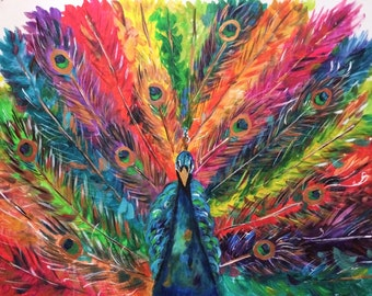 ORIGINAL PAINTING Feathered Rainbows