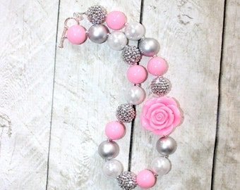 pink chunky bead bubblegum necklace pink and gray necklace little girl pink bubblegum necklace chunky bubblegum bead Easter necklace
