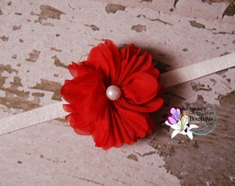 Red White Silver Chiffon Twirl Pearl Glitter Headband, Single Flower Headband, Newborn Baby Girl Toddler - SB-080