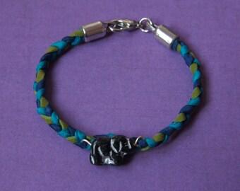 Green Blue Elephant Braided Bracelet