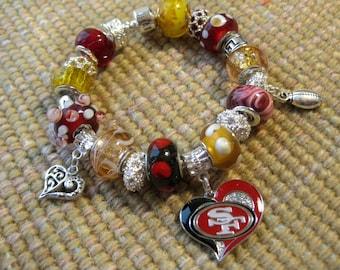 San Francisco 49ers Licensed Charm on a European Style Bracelet