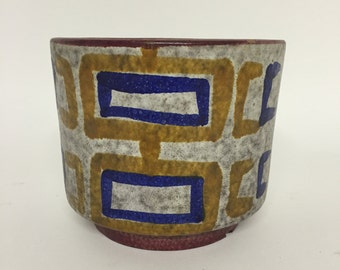 Geometric 1960s Italian Art Pottery Planter Bitossi Fratelli Fanciullacci