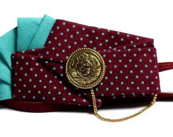 turquoise polka dot plum headband