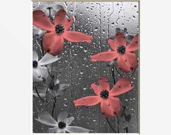 Bathroom Coral Gray Wall Pictures Decorative Coral Gray Floral Bathroom Powder Decor 8x10 Picture