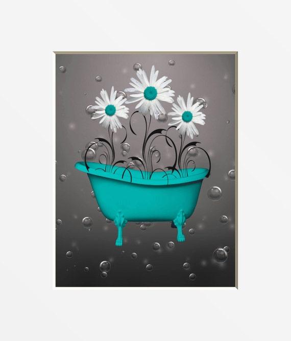 Teal gray bathroom decor teal daisy flower bubbles for Teal and gray bathroom decor