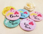 Quirky Heart Colourful Disney Bridal Shower Hen Party   Hen Do Badges