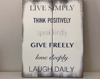 "Reclaimed Wood Sign, ""Live Simply, Think Positively"""