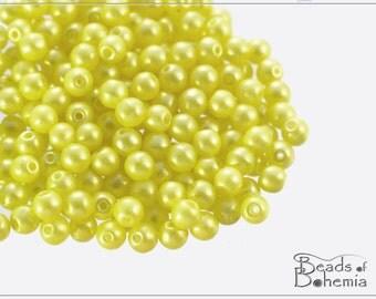 100 pcs Pearl Shine Amber Czech Round Beads 4 mm (10274)