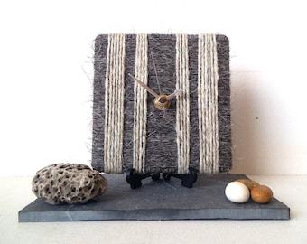 Charcoal Grey Desk Clock / Small Wall Clock Dark and Light Grey - 100% British Pure Herdwick Wool Yarn