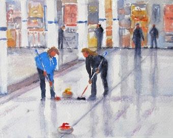 Curling ice sport Minnesota winter Bonspiel watercolor painting original