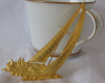 "Massive Frosted Gold Metal Sailboat Brooch, 3.5"" by 2.5"", Signed JJ, Jonette Jewelry, Regatta"