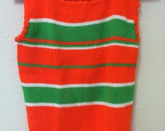 1960's orange and line green sweater vest